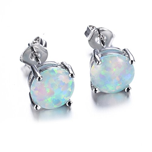 3mm Simulated Blue Opal Round Stud Earrings .925 Sterling Silver Rhodium Finish 168tHEHF1