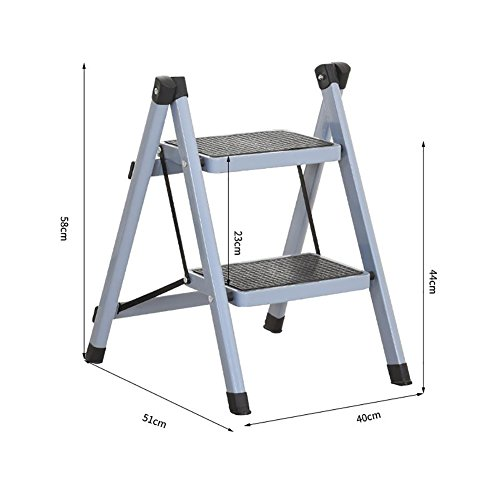 YD-Step stool Green Folding Step Ladder Stool Non-Slip Treads Kitchen Small Red Foldable Chairs Adults & Kids Portable Stepladder/Storage Shelf/Footstool /& ()