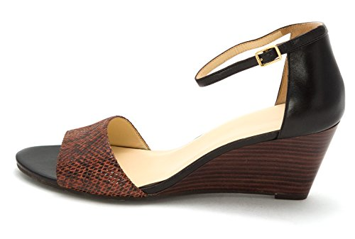 Cole Haan Frauen Rosalin Offener Zeh Anlass Sandalen mit Keilabsatz BLK/BRN Snake Print