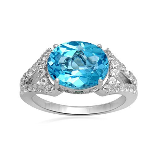 Jewelili Sterling Silver Oval Blue Topaz And White Topaz Ring
