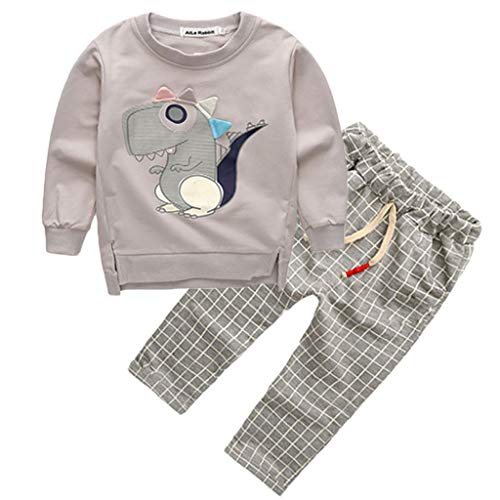 Mysky Cute Dinosaur Print Sweatshirt + Classic England Plaid Pants Trousers Outfits Set for Toddler Kids Baby Boys - Pullover Scrimmage Vests