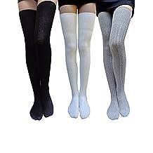 American Trends Women's Elegant Thigh-High Lengthen Leg Knee High Cotton Socks