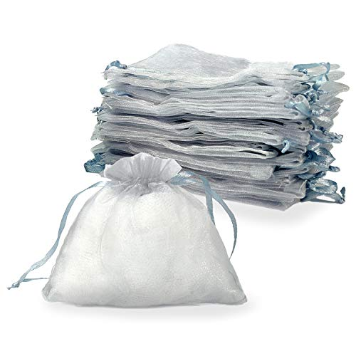 - YUXIER Party Favor Bags Organza Bags-4x4 Jewelry Bags Drawstring Organza-Sachet Bags Small Drawstring Pouch Sheer Bags Grey Tiny Gift Bags (30 Pack)