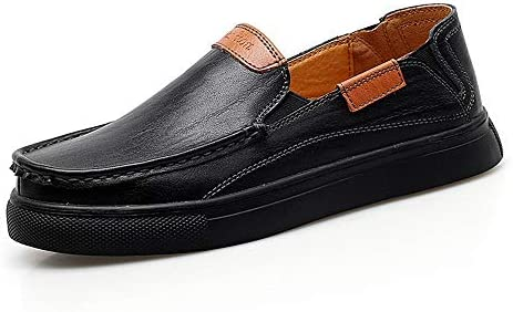 Qiusa Slip on Mocasines para Hombre Comfort Light Zapatos Antideslizantes Ocasionales de Cuero Genuino (Color : Negro, tamaño : EU 43)