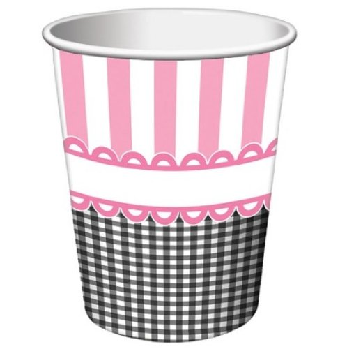 8-Count 9-Ounce Hot/Cold Paper Beverage Cups, Sweet Baby Feet Pink
