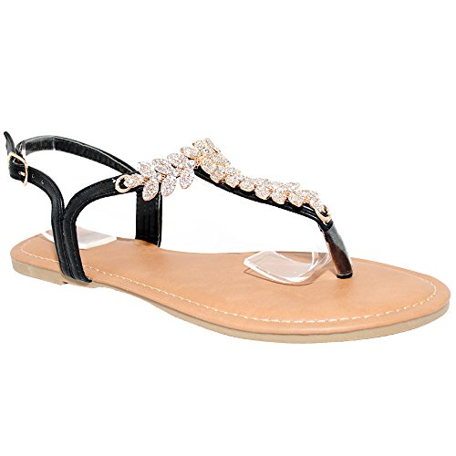 Black Rhinestone Buckle - TRENDSup Collection Womens T-Strap Buckle Flats Sandals (10, Black PU)