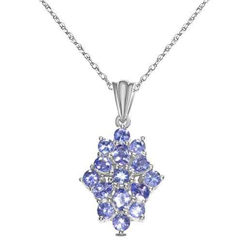 Tanzanite Cluster Pendant in Sterling Silver with 18 Complementary Chain