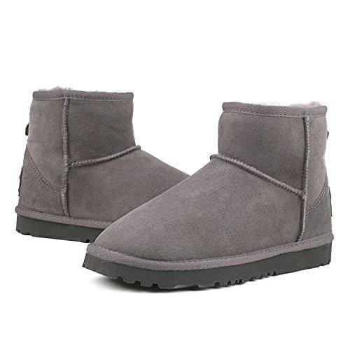 Ausland Botas De Nieve Impermeables Para Mujer, Zapato De Invierno De Piel De Oveja A Media Pierna 9125 Gris (mini)