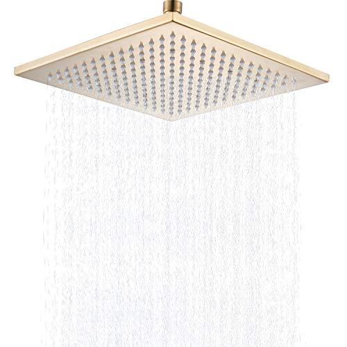 Senlesen 12 inch Square Rain Shower Head High Pressure Bathroom Rainfall Showerhead Brushed Gold
