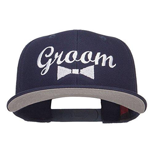 - e4Hats.com Groom Bow Tie Embroidered Cotton Snapback - Navy OSFM