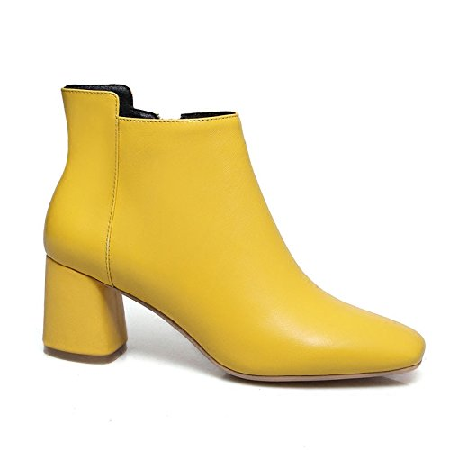 Female New yellow High Yellowish Boots Rough Bare Boots Martin KHSKX Autumn Heel Heel Boots Boots Yellow Single RqUFEn4w