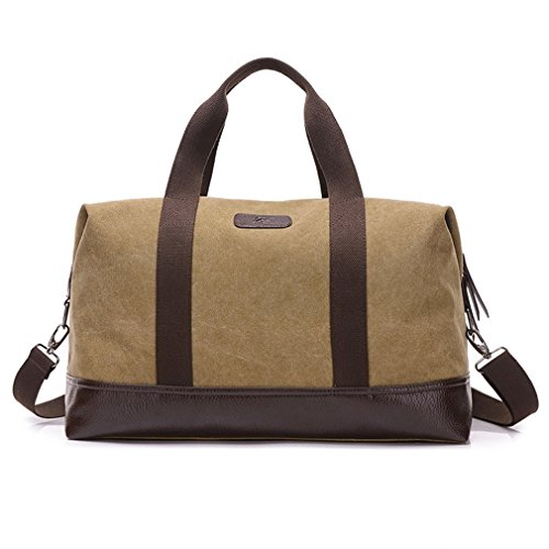 Classic Canvas Leather Duffel Bag Weekender Overnight Bag Carry on Travel Tote – DiZiSports Store
