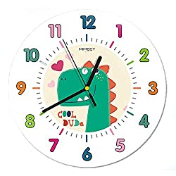 JUSTUP Silent Kids Wall Clock, 12in Non-Ticking Dinosaur Large Decorative Wall Clock Battery Operated Colorful Number Easy to Read for Kids Living Room Classroom (Green)
