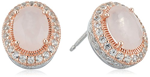 Quartz Sapphire Rose - 14k Rose Gold Plated Sterling Silver Genuine Rose Quartz and Created White Sapphire Halo Two Tone Stud Earrings
