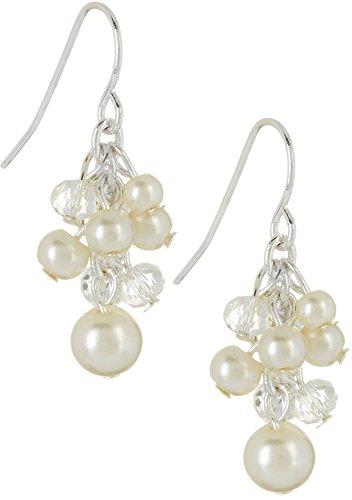 Chaps Faux Pearl & Bead Cluster Drop Earrings Silver tone/white