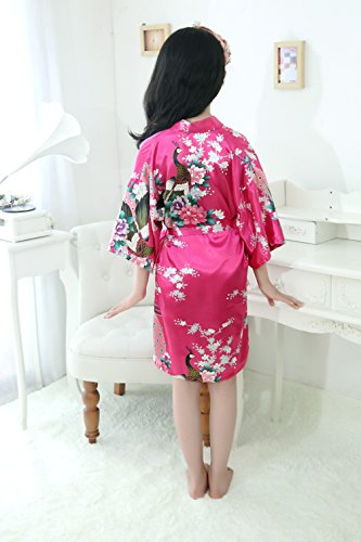Peacock Silk Kimono Robe Bridesmaid Robes / Wedding Robe/ Nightgown for Child Rose Red