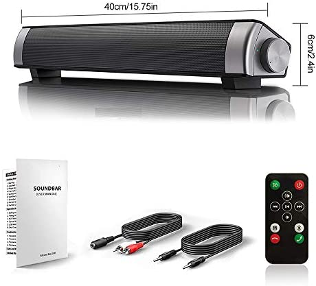 [New 2020 Upgraded] Sound Bar Wired and Wi-fi Bluetooth House Theater TV Stereo Speaker with Distant Management,TF Card-Encompass SoundBar TV/Cellphone/Pill,2x5W Compact Sound Bar