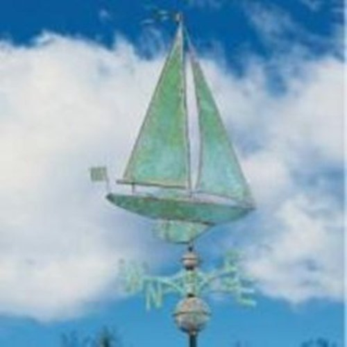 Whitehall Products Copper Sailboat Weathervane, Polished