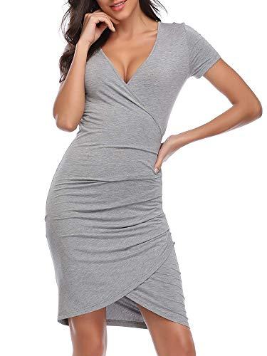 GUBERRY Womens Mini Bodycon Dress V-Neck Short Sleeve Sexy Wrap Sheath Dress