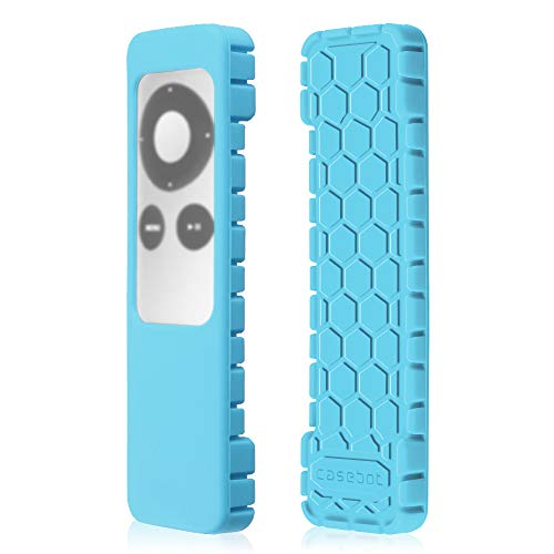 Fintie Protective Case for Apple TV 2 3 Remote Controller - Casebot [Honey Comb Series] Light Weight [Anti Slip] Shock Proof Silicone Sleeve Cover, Sky Blue