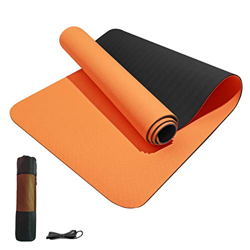 Yoga Mat Non Slip TPE Yoga Mats for Women Men 1/4 1/3 1/2 inch Thick Eco Friendly Fitness Exercise Mat with Carrying…