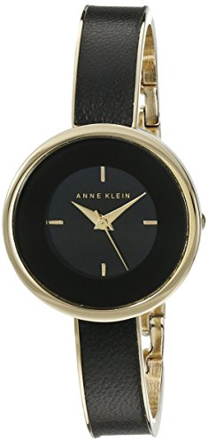 Anne-Klein-Womens-AK1232BKGB-Black-and-Gold-Tone-Bangle-Watch-with-Black-Leather-Insert