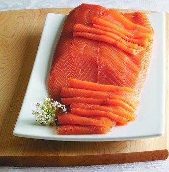 (2.7 Lb. New York's Delicacy, Most Awarded, Pre-Sliced, Fully Trimmed, Skin Removed, Smoked Salmon Nova Fillet, On Skin (1 Fillet))