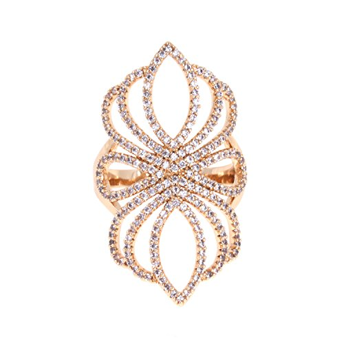 Floral Filigree AAA CZ Micro Pave Ring Size 6-9 Cubic Zirconia Cocktail Jewelry For Women (Gold, ()