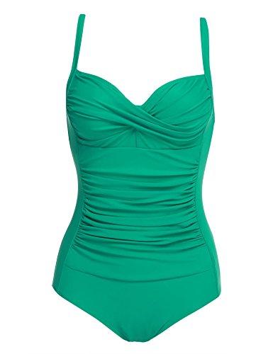 (Ouyilu Women's Plunge Deep V Neck One Piece Swimsuit Halter Bikinis Monokinis Shirred Details)