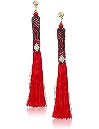 Women's Beaded Red Tassel Drop Earrings, Red/Blue, 5.5