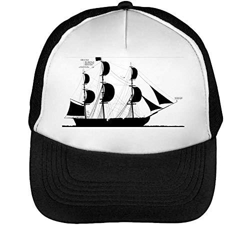 Ship Silhouette Gorras Hombre Snapback Beisbol Negro Blanco