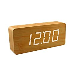 Smart Wooden Digital Alarm Clock, SHOULDBUY 8-Inches Sound Control With Time Temperature (Bamboo-White LED)