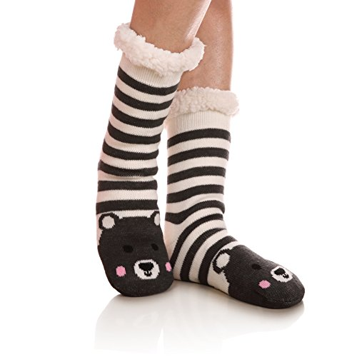 Womens Sherpa Winter Fleece Lining Knit Animal Socks Non Slip Warm Fuzzy Cozy Slipper Socks ()