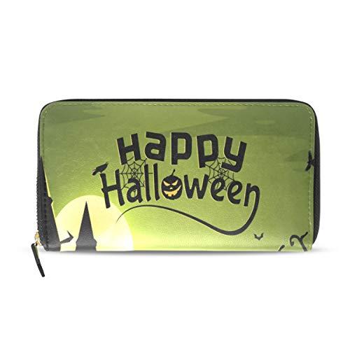 Women's Wallet Halloween Witch Wallpaper Coin Purse Portable Zipper Wallet for Cards Cash]()