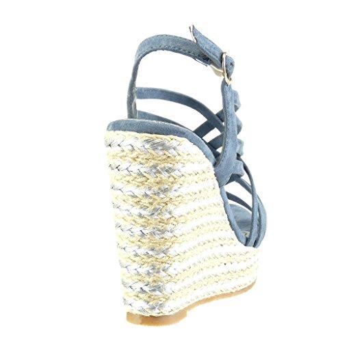 Angkorly - Zapatillas de Moda Sandalias alpargatas zapatillas de plataforma mujer tanga multi-correa Talón Plataforma 11.5 CM - Azul