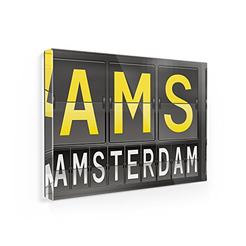 (Fridge Magnet AMS Airport Code for Amsterdam - NEONBLOND)