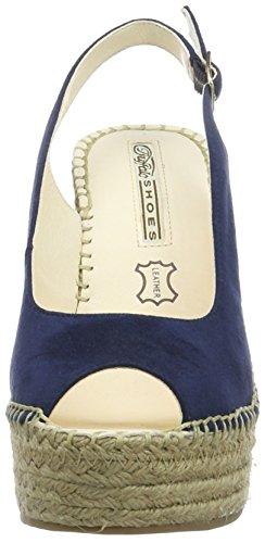 Buffalo London 315-4554 Microsuede, Sandalias con Cuña para Mujer Azul (BLUE)