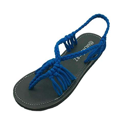 Zapatos Cruzadas Trenzas Sandals Azul Gladiador Minetom Sandalias Mujer Verano De Romanas Moda Casual Playa Planos Bohemia 6WCnI1