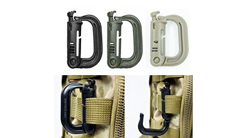 Ten Point Gear 9 Pack Grimloc Super Strong Molded Polymer Clip Carabiner - (Multiple Color Options) (Multicolor)