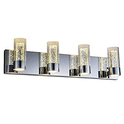 Bathroom Vanity Lights Chrome 4 Lights Vanity Bar Lighting LED 27inch Modern Bath Vanity Lighting Fixtures with Champagne Bubble Cylinder Glass Jinzo - Top selling bathroom vanity lighting for this year.Homedepot and Costco Supplier.This bathroom lights has been featured in multiple interior decorator magazines.Contemporary lines,ultra-sleek look and high quality elegant finishes will make your bathrooms lighting standout as a piece of art. Champagne bubble crystal shades.LED bult-in.No bulbs to replace.1800 Lumens,3000K,UL listed. Chrome finish offers an upscale,sophisticated look.LED bathroom light features an ultra-sleek and modern design. - bathroom-lights, bathroom-fixtures-hardware, bathroom - 41quaHXIlGL. SS400  -