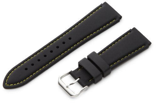 Hadley-Roma Men's MS3345RV 220 22mm Genuine Silicone Diver Sport Watch Strap, Yellow