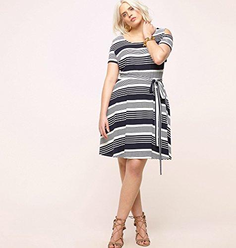 LORALETTE-Womens-Variegated-Stripe-Cold-Shoulder-Dress