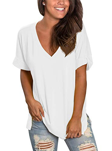 Tunic V-neck Lightweight - Topstype Womens Summer Short Sleeve T Shirts V Neck Tunic Roll Up Tops Cute Tees Loose Fitted Henley Workout Shirts