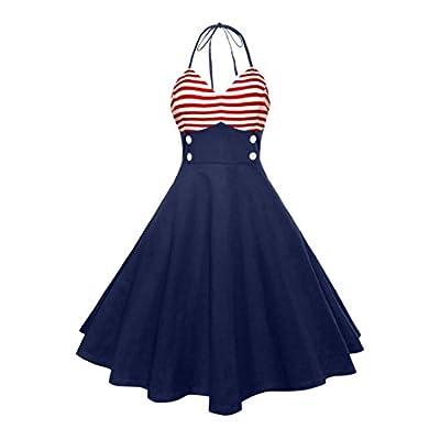 Kimloog Women V-Neck Sleeveless Striped Patchwork High Waist Hem Party Prom Halter Swing Dress