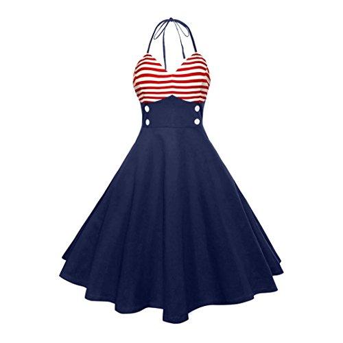 Kimloog Women V-Neck Sleeveless Striped Patchwork High Waist Hem Party Prom Halter Swing Dress by (2XL, Navy) by Kimloog