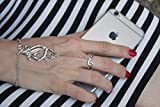 sterling silver slave bracelet,hand chain,hand jewelry,boho slave bracelet,statement bracelet,bracelet with ring,statemet jewelry,vintage.