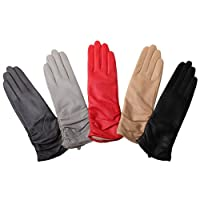 WARMEN Classic Leather Ruched Evening Dress Winter Gloves Fleece Lined