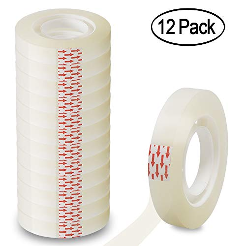 Heqishun Transparent Tape 1/2 inch Invisible Tape 12 Pack Clear Tape Refills for Dispenser