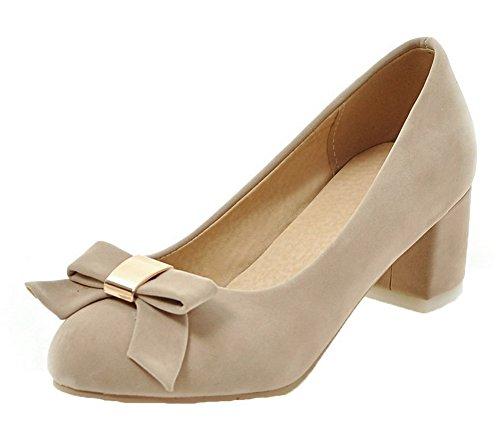 AllhqFashion Damen Tier Stoffdruck Ziehen auf PU Leder Rund Zehe Pumps Schuhe Cremefarben