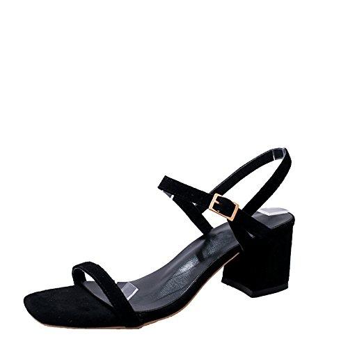 SHOESHAOGE L'High Dew Square Fixations Bare Avec Heel Slotted Femme EU38 Avec Sandales Le Épais Chaussures rCrwBqp